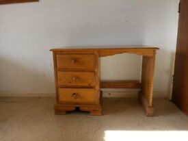 Solid Pine Dressing Table or Desk with Three Drawers