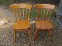 2 SLAT BACK CHAIRS. PINE TABLE, MORE CHAIRS, CHURCH PEWS, SETTLES ALSO FOR SALE,. Delivery possible.