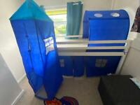Single mid sleeper bed with tent, canopy, tower and pockets