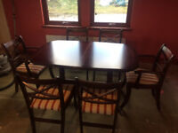 Regency style Mahogany extending dining table & 6 chairs