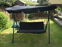 Garden swing with canopy seats 3 in black