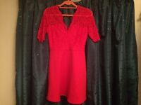 Size 12 ASOS V-neck Red Lace Skater Dress