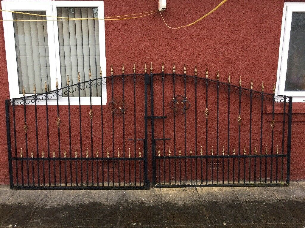 Irony Metal Driveway Gate 12 Feet Long Pairs And 63 Inches Tall In