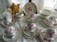 Vintage Mix and Match 22 Piece Tea set includesTeaPot