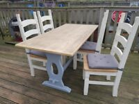 Antique Original Good Quality solid TABLE + SET OF 4 FREE CHAIRS
