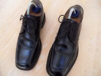 Mens Boys Savile Row By Barker Black Leather Shoes Size Uk 7 Made In England