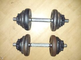 Pair of cast iron dumbells