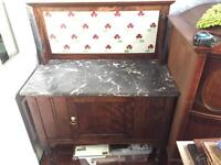 Marble topped mahogany Edwardian Victorian antique washstand