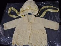 Lemon hand knitted cardigan and hat set