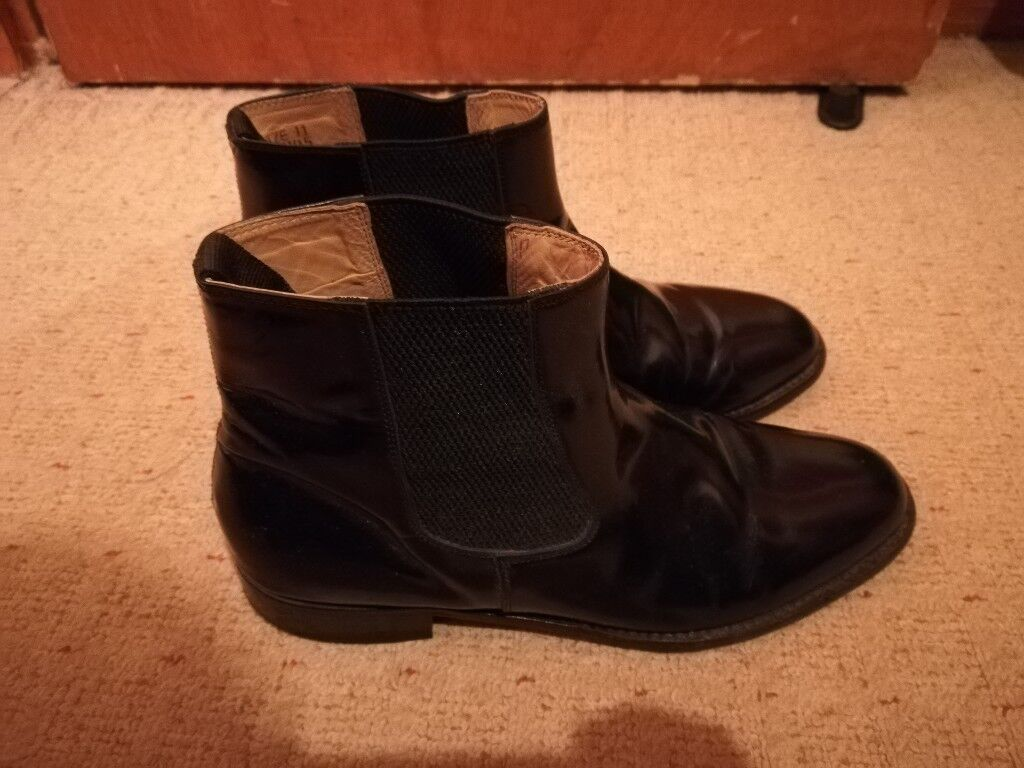 Samuel Windsor Mens Black Leather Chelsea Boot Size 10