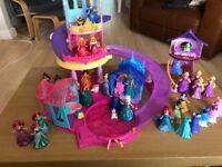 Disney Glitter Glider Castle & Dolls (Many extras)