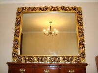 """LARGE GOLD MIRROR IN LARGE ORNATE FRAME 52"""" HIGH 63"""" WIDE IN 7"""" FRAME COST £650 REDUCED £175"""