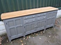 Enormous 7ft Solid Elm Ercol Sideboard Painted Farrow & Ball