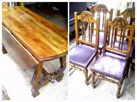 ANTIQUE SOLID OAK DROP DINING TABLE & FOUR CHAIRS ( OFFERS ACCEPTED ) - LOCAL FREE DELIVERY