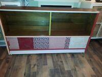 1940's Utility Furniture Side Board on Metal Castors/ glass & wood shelves & storage