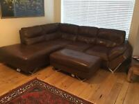 Left hand corner suite with pouf, Faux leather