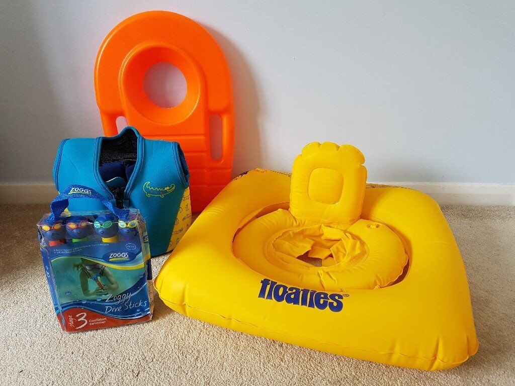 Kids Swimming Aids - Zoggs Diving Sticks, Floaties swim seat, Mothercare swim jacket, orange float