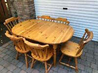 **REDUCED** Kitchen Pine Table and six chairs