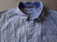 Dockers short sleeve shirt, white, blue and green stripes, size XL