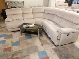 EX DISPLAY CREAM LARGE CORNER SUEDE MATERIAL SOFA CURVED / ELECTRIC RECLINER - DELIVERY ‼️PRICE:£750