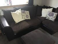 SOLD!!! 4 seater comfy dark brown fabric corner sofa and pouffe