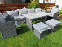 Rattan garden furniture with grey sofa, glass top table and chairs - New & Sealed