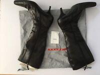 'Prada' Black Leather Boots. Size 41. 100% Genuine in Prada carry Bag
