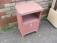 Lovely Clean Retro 50's Loom Craft Small Cabinet Laundry Basket Bedside
