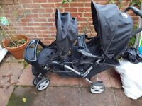 Graco Stadium Duo Tandem Twin Pushchair - Oxford - Black - Used