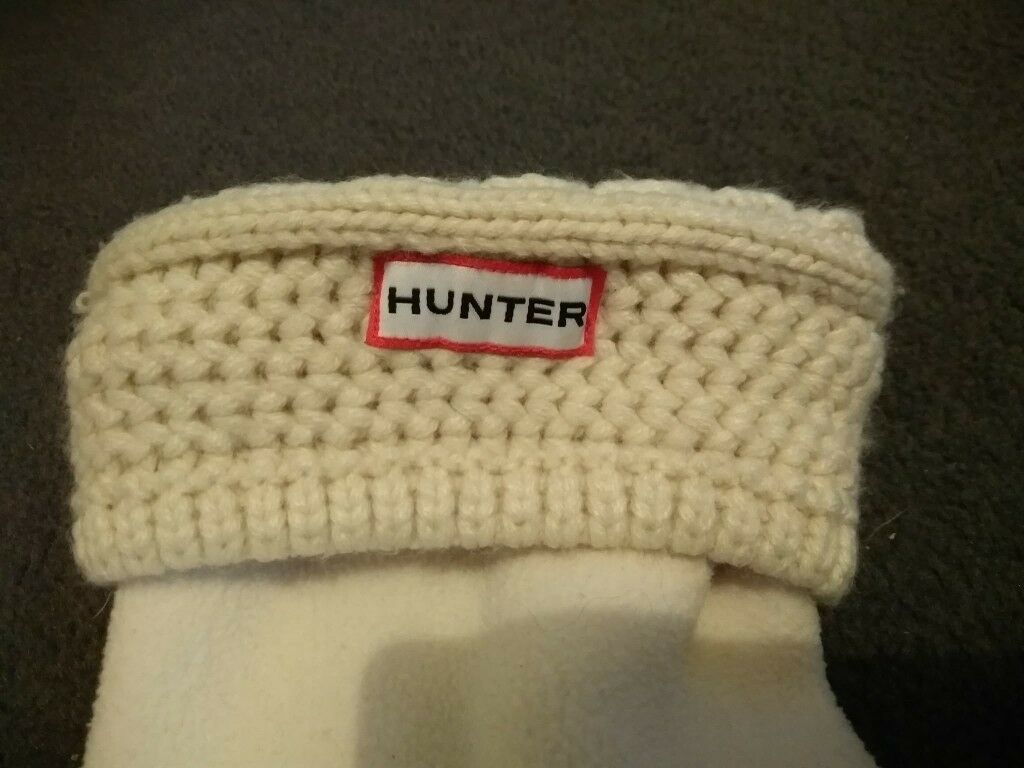 Cream Hunter welly socks in size L (UK 6 - 8) for inside short