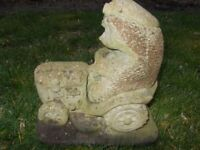 Vintage Stone Ornament of Hedgehog Riding a Tractor