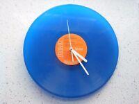 "Blue vinyl record 12"" wall clock"