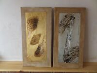 Set of 2 pictures, one gold tone, the other silver, with etched pattern 60 x 30cm (23.5 inches x 12)