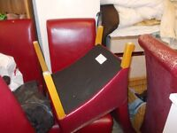6 RED DINING ROOM CHAIRS IDEAL PROJECT EXCELLENT CONDITION JUST NEED RECOVERING