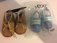 2 pair first size baby boy shoes