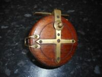 Vintage Starback Wooden and Brass Centrepin Fishing Reel