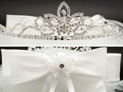 First Communion Veils Headpieces (Girls 1st First Communion Rhinestone Tiara Veil Headpiece Crown Primera)