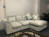 BRAND NEW silver crushed velvet corner sofa delivery 🚚 sofa suite couch furniture