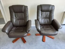 Stylish brown swivel armchairs and matching foot stools- as new!