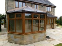 Conservatory & kitchen extension for sale, light oak upvc, perfect condition.
