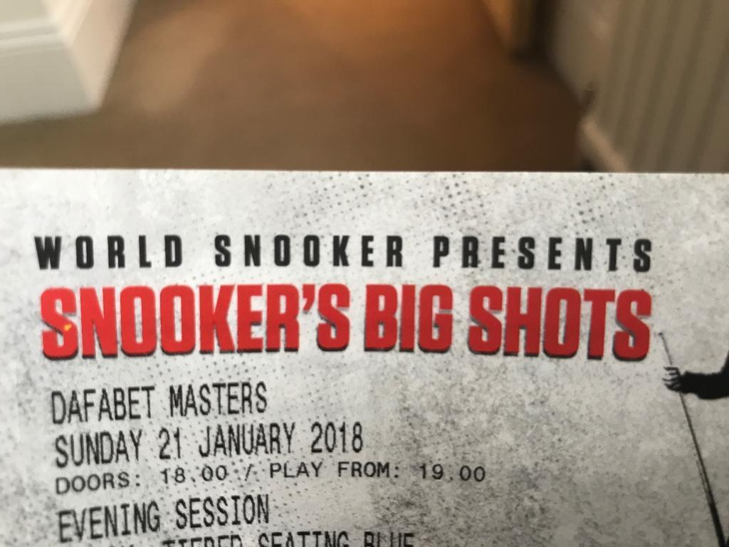 1 x Ticket for Dafabet Snooker Final Tonight