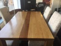 Solid Oak Dining Table With 4 Chairs 165 Ono