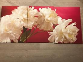 Large Pink/Cream Floral Canvas (set of 3) - Excellent Condition