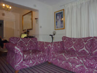 pink sofa and two cuddle chairs excellent condition and footstool