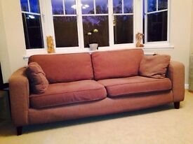 3 SEATER COUCH SOFA BROWN WITH SCOTCHGARD PROTECTION. SMOKE + PET FREE HOME