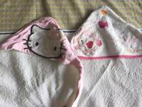 2 baby girl bath towels