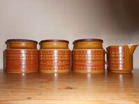 Hornsea pottery saffron c1973 set of 3 storage jars (Tea,Coffee & Sugar)