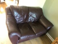 Brown leather 3 & 2 Seater sofas. Cost £3600 new. Smoke free home.