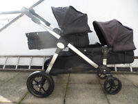 Baby Jogger City Select double buggy with bussinets + 2 MaxiCosi car seats and new shopping basket