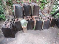 "150 Reclaimed Black Clay Pantiles 10"" x 13.5"""